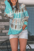 Sky Blue Tie-dye Side Slit Pullover Sweatshirt