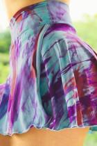 Ungu Double-decker Tie-dye Celana Pendek Rok Olahraga Tinggi Pinggang