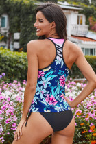 Sininen painettu Racerback Tank Swim Top