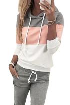 Pink løbebånd Design Colorblock hættetrøje & buksesæt