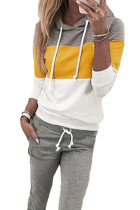 Yellow Drawstring Design Colorblock Hooded Top & Pant Set