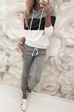 Sort trækdesign Colorblock hættetrøje & buksesæt