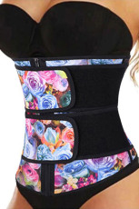 Floral Printing Compression Double Strap Latex Trainer μέσης