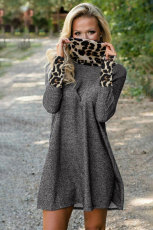 Charcoal Leopard Cowl Scarf and Cuff Cotton Mini Dress