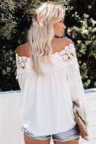 White Blooming Lace Off The Shoulder Top