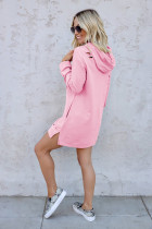 Pink Distressed Cotton Hooded Dress