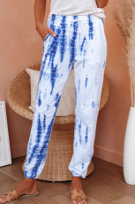 White Pocketed Tie-dye Strik Joggers
