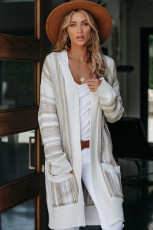 Khaki Pocketed Cotton Blend Cardigan