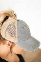 Gray Vintage Washed Distressed Twill Mesh Baseball Cap