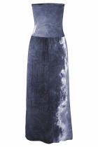 Серое богемное платье макси с принтом бандо