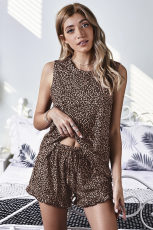 Leopard Swingy Tank og Ruffled Shorts Loungewear