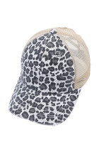 Šedá leopardská čepice s potiskem