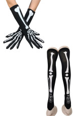 Black Halloween Bone Blood Print Gloves and Stockings