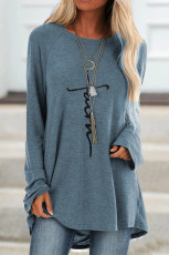 Sky Blue Faith Letters Print Knit Tunic Top