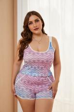 Разноцветная майка большого размера с принтом в виде сердечек с эффектом омбре и короткий комплект