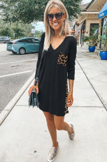 Leopard Print Splicing Splicing Black Cotton Mini Dress