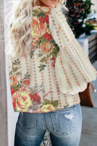 Apricot Crewneck Floral In Balloon Sleeves Blouse