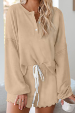 Khaki Cotton Blend Slouchy Set
