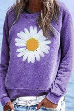 Purple Flower Print Pullover Sweatshirt