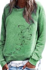 Yeşil Kelebek Desenli Kazak Sweatshirt