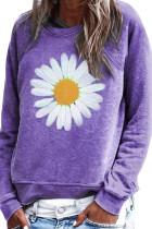 Mikina s svetrem s potiskem fialového květu
