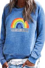 Sininen Rainbow Print Sininen Villapusero