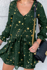 Green Shimmer Ruffle V Neck Stars Print Long Sleeve Casual Short Dress