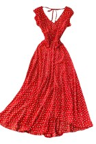 Red V Neck French Polka Dot Dress with Flounces
