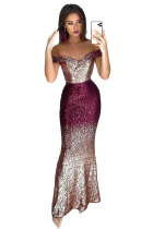 Off-the-shoulder Sequin Party Evening Maxi Dress