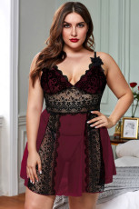 Κόκκινο μπλοκ Hollow-out Lace Gauze Patchwork Plus Size Babydoll
