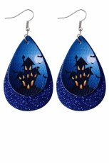 Blue Dark Blue Halloween Haunted House In Sequins Double Earrings