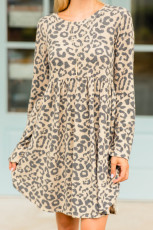 Long Sleeve Leopard Print Mini Dress