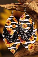 Leopard Sunflower Black Sequined Leaf Earrings Da nhiều lớp