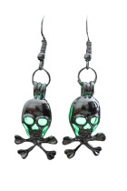 Green Halloween Skull Gleam Earings