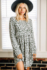 Gray Long Sleeve Leopard Print Mini Dress