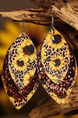 Leopard Sunflower Golden Sequined Leaf Multi-Layered Leather Earrings