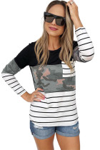 Black Camo Stripes Patchwork Long Sleeve Top with Pocket