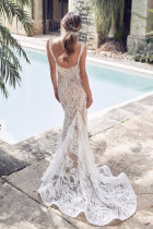 White V Neck Embroidering Tulle Mermaid Dress