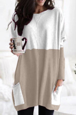 Khaki Colorblock Casual Long Sleeve Tunic with Pockets
