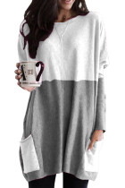 Gray Colorblock Casual Long Sleeve Tunic with Pockets