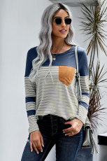 Blue Pinstripe Patch Pocket Top