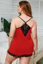 Красные тонкие бретельки с кружевной отделкой, пижамный комплект больших размеров