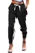 Black Casual Striped Drawstring Pants