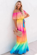 Rainbow Skies Off-the-shoulder Tiered Maxi Dress