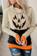 Black Cowl Neck Pumpkin Print Color Block Halloween-genser