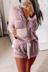 Pink Long Sleeve Drawstring Button Loungewear