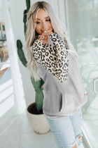 Gray Leopard Print Patchwork Hoodie