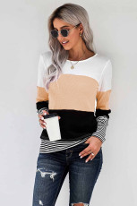 Apricot Stylish Colorblock Splicing Stripes Top