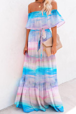 Sky Blue Printed Off-the-shoulder Tiered Maxi Dress