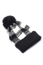 Black Buffalo Plaid Beanie with Pom